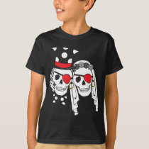 Wedding Pirate Skulls Black on Dark T-Shirt