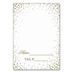 Wedding Place Card Gold Confetti at Zazzle