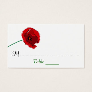 Wedding Place Card | Red Poppies | Black, Green