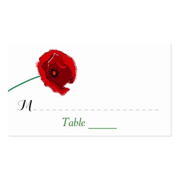 Wedding Place Card | Red Poppies | Black, Green Business Card Templates