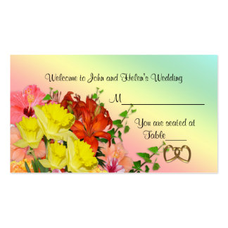 Wedding Place card Spring flowers table seating