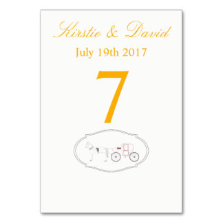Wedding Place Cards with Horse & Carriage Graphic