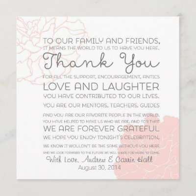Wedding Place Setting Place Card Thank You Message Zazzle Com