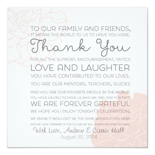 Wedding Place Setting Place Card Thank You Message | Zazzle