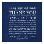 Wedding Place Setting Place Card Thank You Message