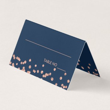 Wedding Themed Wedding Placecards Rose Gold Glitter Confetti Navy Place Card