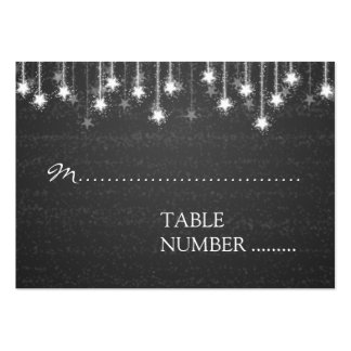 Wedding Placecards Shimmering Stars Black Business Cards