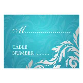 Wedding Placecards Swirly Flourish Aqua Blue Large Business Card