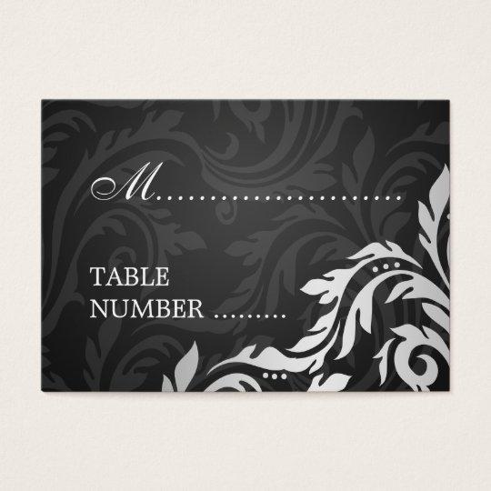 Wedding Placecards Swirly Flourish Black Business Card