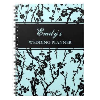 Wedding Planner Black & Turquoise Floral Notebook