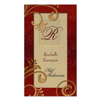 Wedding Planner Business Card - Bronze & Red