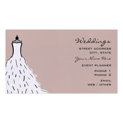 Wedding planner business card feathery dress zazzle for Wedding planning business cards