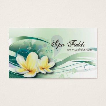 Professional Business Wedding Planner Business Card Green Plumeria