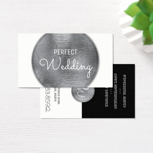 Wedding Planner Business Card Stylish Silver Foil