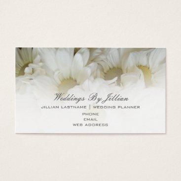 Professional Business Wedding Planner Business Card - White Daisies