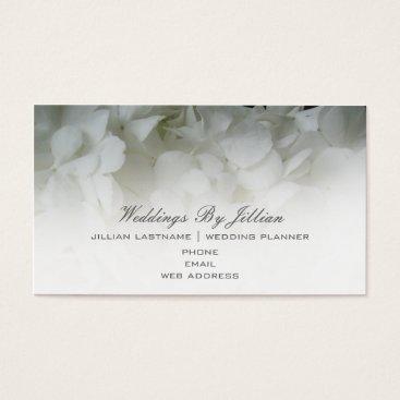 Professional Business Wedding Planner Business Card - White hydrangeas
