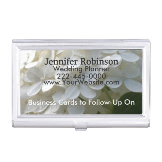 Wedding Planner Cards to Follow-Up White Hydrangea Business Card Case