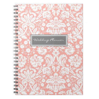 Wedding Planner Coral Gray White Damask Notebook