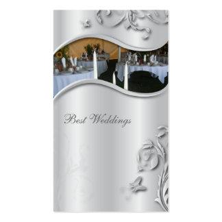 Wedding Planner Elegant Business Card Silver Metal
