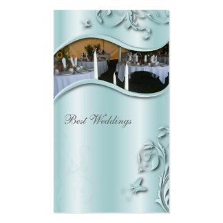 Wedding Planner Elegant Business Card Teal Metal