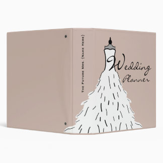 Wedding Planner - Feathery Wedding Dress 3 Ring Binder