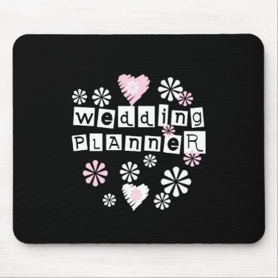 Wedding Planner Flowers White on Black Mouse Pads by weddingsareus
