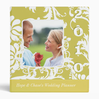 Wedding Planner Gold Lime Damask  Engagement Photo 3 Ring Binders