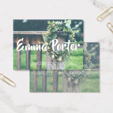 Professional Business wedding planner green wreath business card