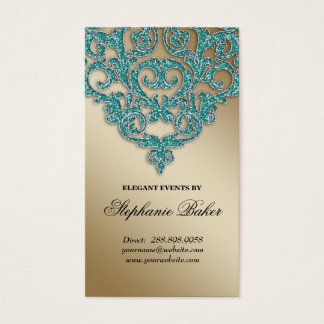 Wedding Planner Jewelry Damask Gold Sparkle Teal Business Card