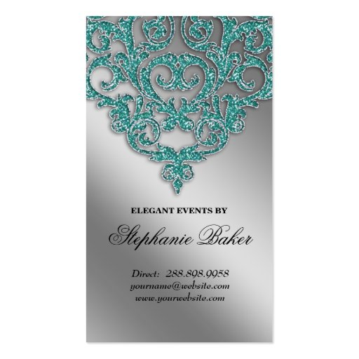 Wedding planner business cards standard size page5 bizcardstudio wedding planner jewelry damask silver sparkle teal business card templates cheaphphosting Image collections