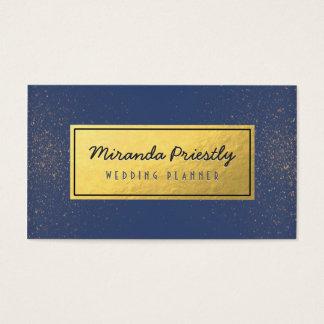 Wedding Planner Makeup Artist Blue Gold Glitter Business Card