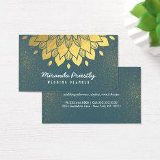 Wedding Planner Makeup Artist Green & Gold Flower Business Card at Zazzle