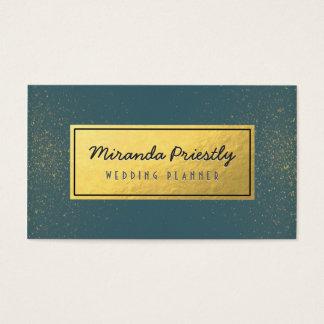 Wedding Planner Makeup Artist Green Gold Glitter Business Card