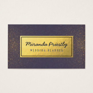 Wedding Planner Makeup Artist Purple Gold Glitter Business Card