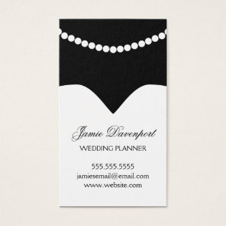 Wedding Planner Minimal Chic Dress Pearl Necklace Business Card
