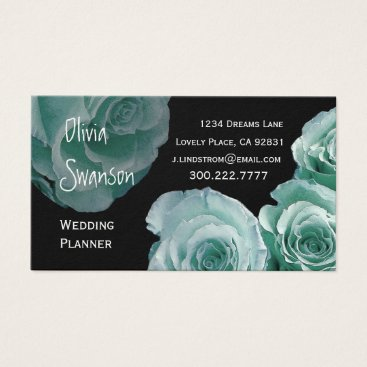 Professional Business WEDDING PLANNER Mint Rose Business Card Template