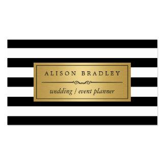 Wedding Planner - Modern Black White Stripes Business Card