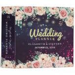 Wedding Planner Modern Floral Purple Sparkle Light 3 Ring Binder