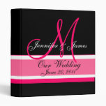 Wedding Planner Monogram Date & Names Pink Black 3 Ring Binder