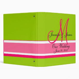 Wedding Planner Monogram Date & Names Pink Green 3 Ring Binder