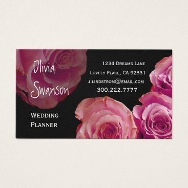 Professional Business WEDDING PLANNER Peach Pink Roses Business Card