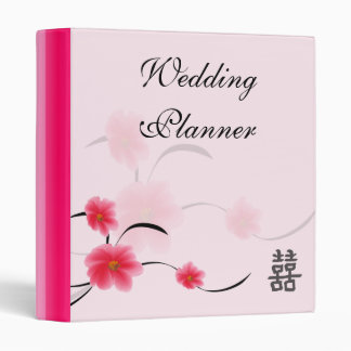 Wedding Planner Pink Blossom Double Happiness 3 Ring Binder