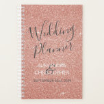 "Wedding Planner Pink - Rose Gold Sparkle Glitter<br><div class=""desc"">Rose Gold - Blush Pink Sparkle Glitter Planner for Wedding Planning. The notebook is perfect for the bride and groom planning the perfect wedding. The names and date on the planner can be customized. Please contact the designer for customized matching items.</div>"