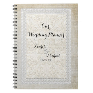 Wedding Planner Rustic Lace w Aged Vintage Linen Spiral Notebook