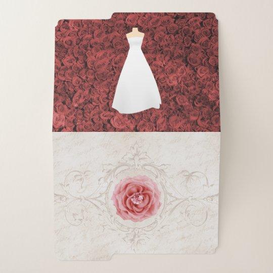 Wedding Planner Set 1 Monogram Rustic Red File Folder