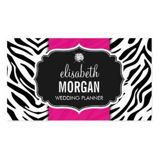 Wedding Planner - Trendy Zebra Print Hot Pink Business Card