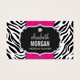 Wedding Planner - Trendy Zebra Print Hot Pink Business Card