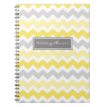 Wedding Planner Yellow Gray Chevrons Notebook