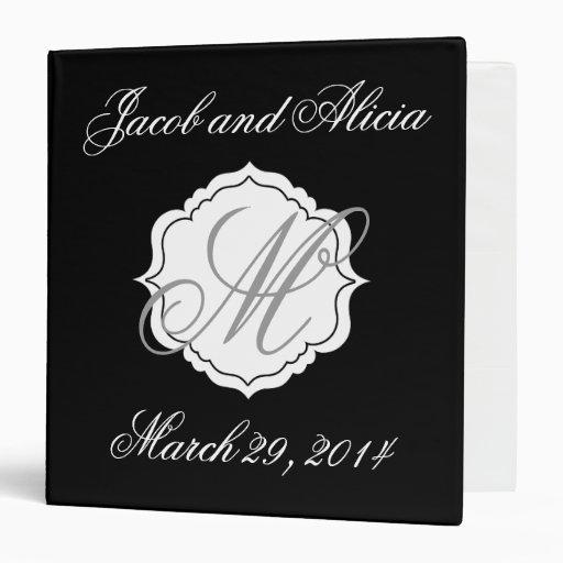 Wedding Planning Binder Scrapbook Monogram Black