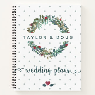 Wedding Plans Watercolor Winter Wedding Wreath Notebook